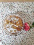 upside down mixed fruits apple pear apricots sultanas cake with powdered sugar and ginger in s...jpg