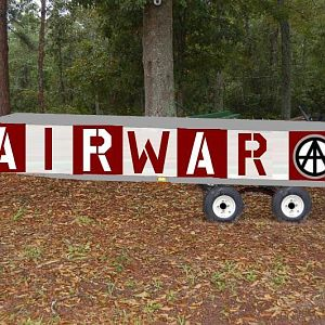 Red and White Airport Hazard Stripey Trailer Horse at End Anarchy Symbol