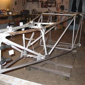 Aluminum tube frame built using aluminum gussets and pop rivets.