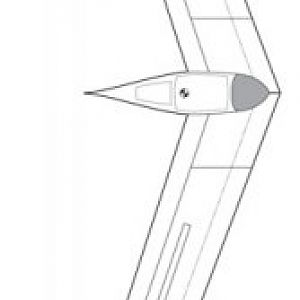 DS43.1 - November 2007  The original concept, as a swept-wing 'flying wing' design. Far beyond my abilities to analyze, unfortunately. Maybe next ti