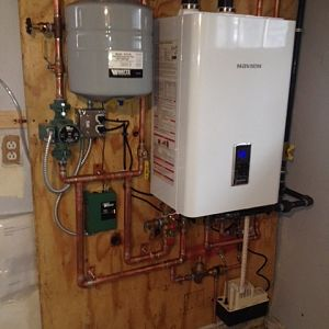 tank less hotwater heater combo